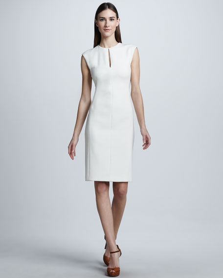 Double-Faced Wool Crepe Dress, Cream