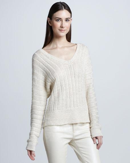 Dolman-Sleeve Linen Sweater, Ivory