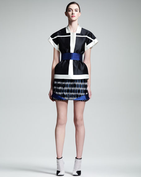 Rhombus-Jacquard Skirt