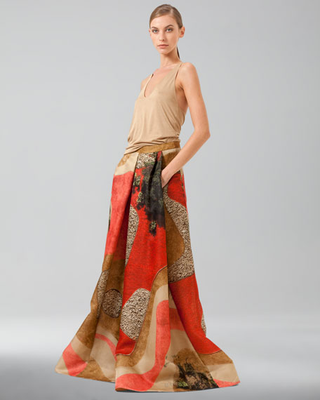 Garden-Print Floor-Length Apron Skirt