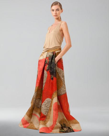 Garden-Print Floor-Length Apron Skirt