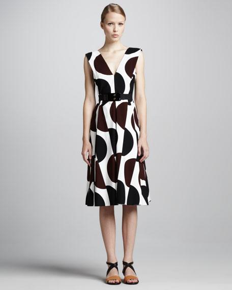 Dot-Print Tea-Length Dress