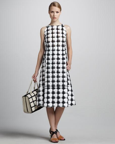Check-Print A-Line Dress