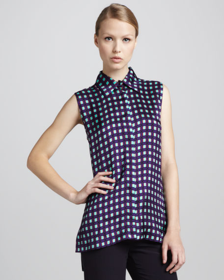 Sleeveless Grid-Print Blouse