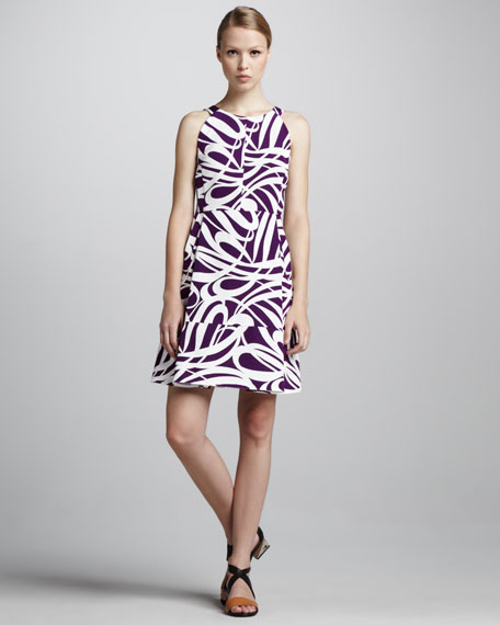 Swirl-Print Short Dress