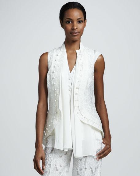 Sleeveless Cutaway Jacket, White