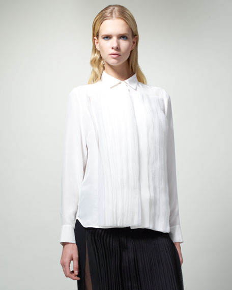 Organza-Stripe Blouse