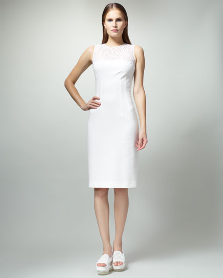 Eyelet-Top Sheath Dress