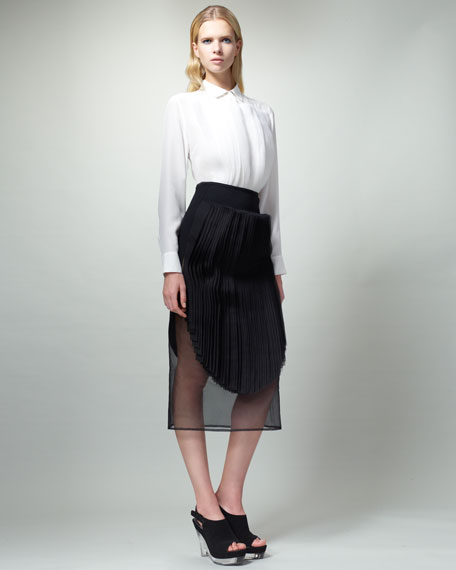 Organza-Stripe Skirt