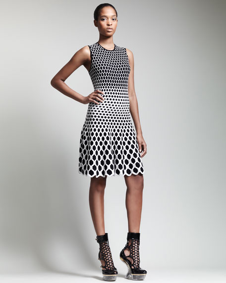Honeycomb Jacquard Above-Knee Dress