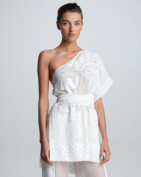 Embroidered One-Shoulder Tunic