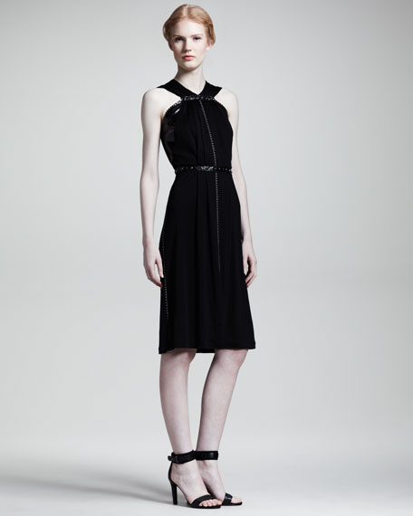 Snake-Trimmed Jersey Dress, Black