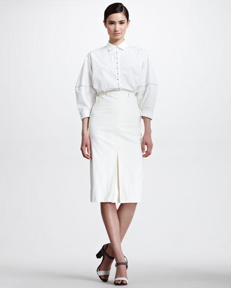 Center-Pleat Cotton Knee Skirt, White