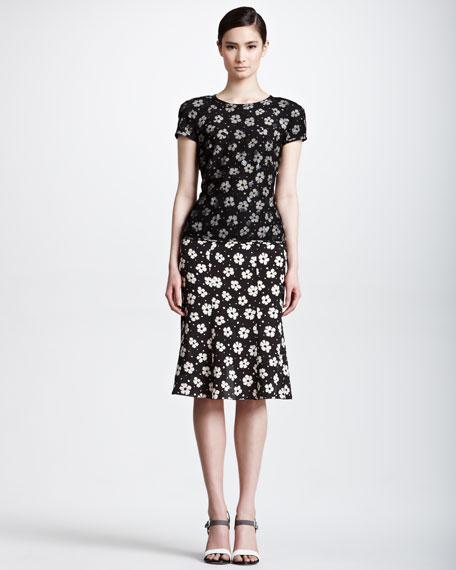 Floral-Print Flutter Skirt
