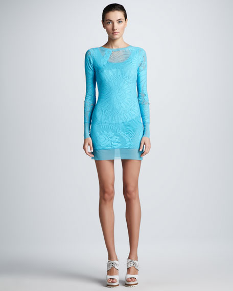 Long-Sleeve Lace Tunic/Top/Dress, Pool
