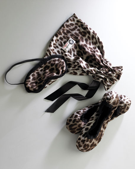 Satin Leopard-Print Travel Kit