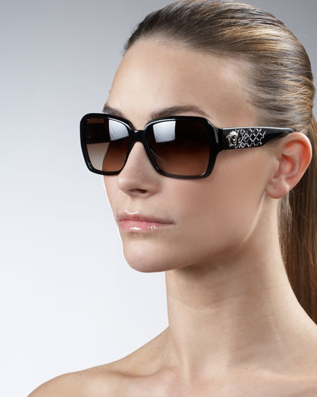 Square Crystal-Logo Sunglasses