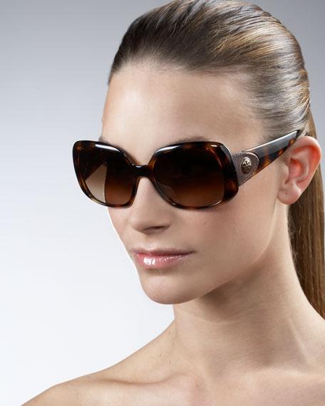 Oversized Square Leather Logo Sunglasses