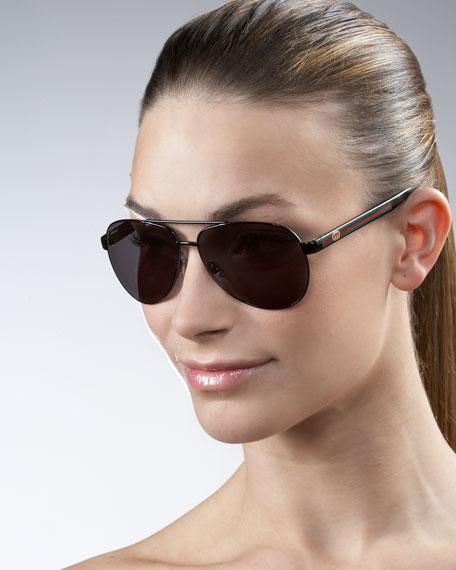 Logo-Stripe Aviator Sunglasses, Black/White
