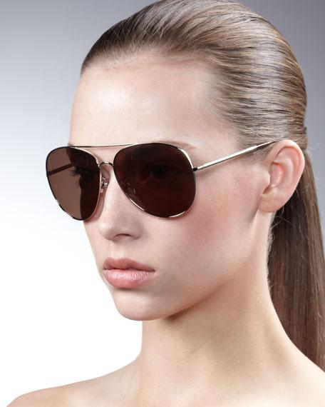 7431b897fc448 Burberry Etched-Arm Aviator Sunglasses