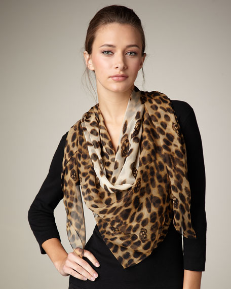 Leopard-Print & Skull Scarf