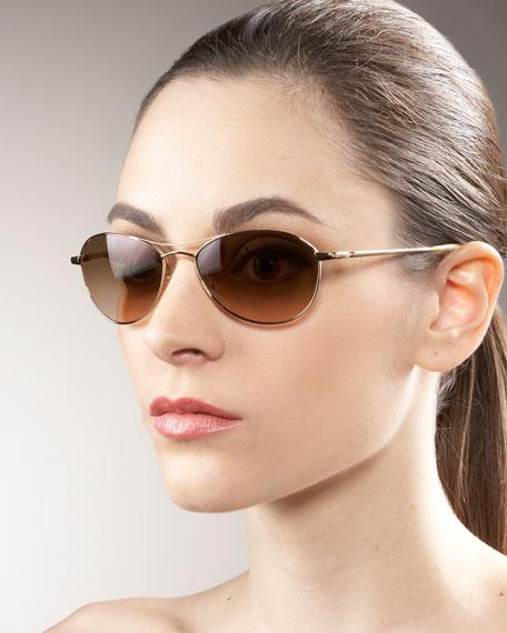 Aero Metal Sunglasses, Gold