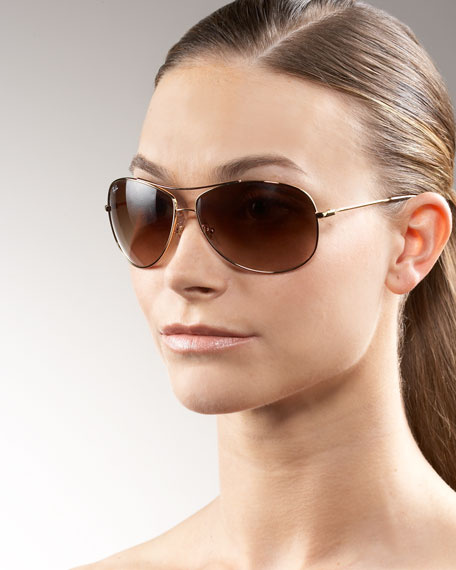Rounded Aviator Sunglasses, Golden/Brown