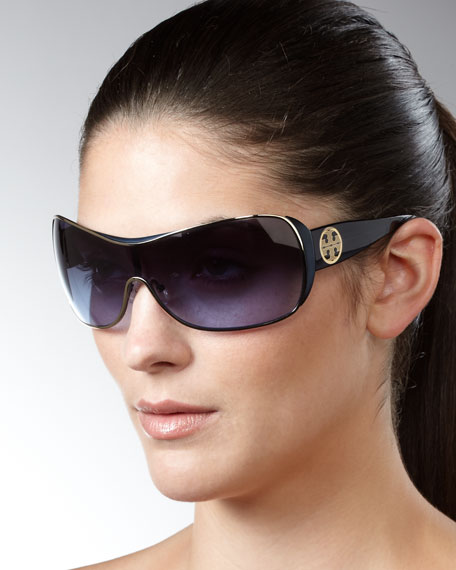 Metallic-Detailed Shield Sunglasses