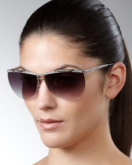 Chanteuse Snake-Print Sunglasses, Black