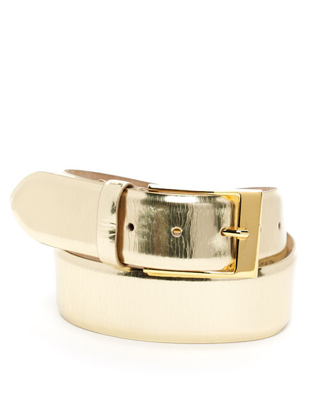 Wide Leather Belt, Gold