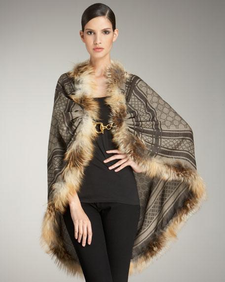 Josy Silver Fox Fur Wrap, Beige/Light Brown