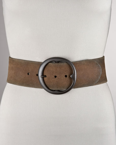 Distressed Suede Belt, Wide