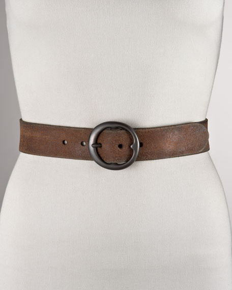 Distressed Suede Belt, Medium