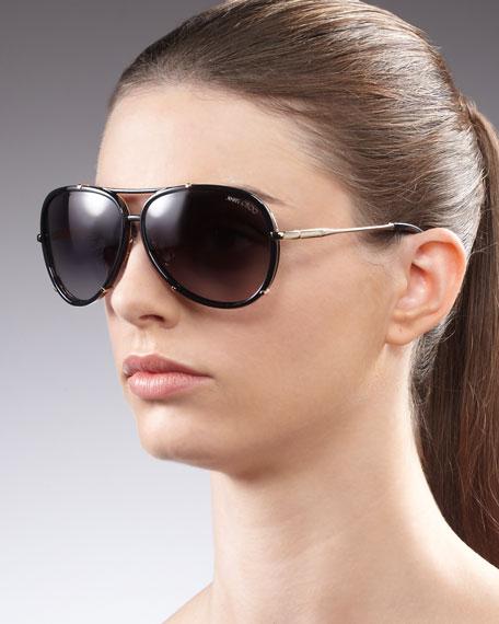 Terrence Aviator Sunglasses, Black
