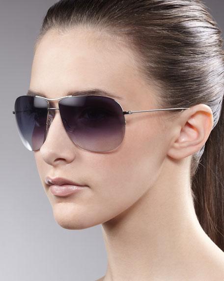 Welles Aviator Glasses, Silvertone