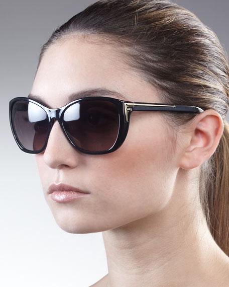 Sleek Logo-Arm Sunglasses, Black