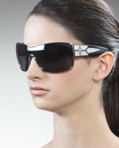 Crystal-Embellished Shield Sunglasses, Gray