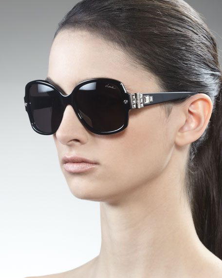 Swarovski Crystals-Detail Square Sunglasses, Black