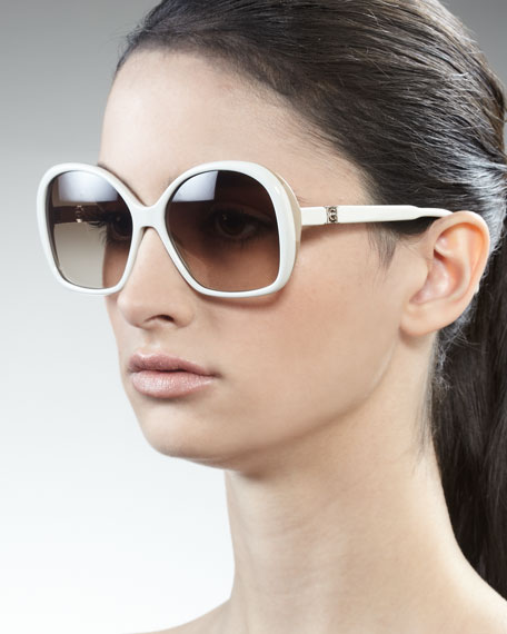 Two-Tone Sunglasses, Cream