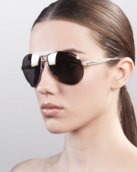 Dominique Aviator Sunglasses, Rose Golden