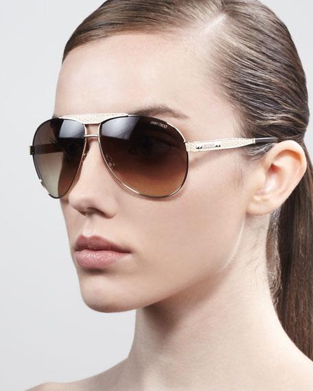 Dominique Aviator Sunglasses, Light Golden