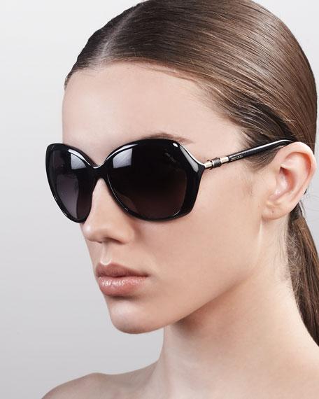 Justine Sunglasses, Shiny Black