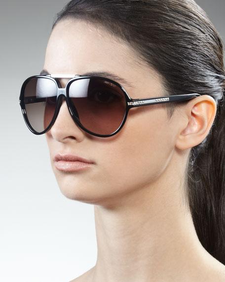 Luisa Aviator Sunglasses, Black