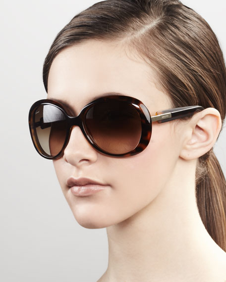 Round Frame Sunglasses, Brown