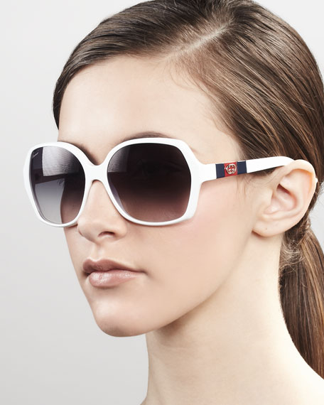 Logo Square Frame Sunglasses, White