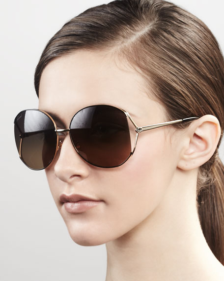 Metal Round Sunglasses, Gold