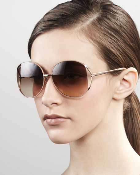 Metal Round Sunglasses, Rose Gold