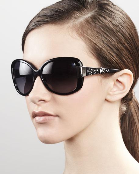 Midnight Crystal Sunglasses, Black