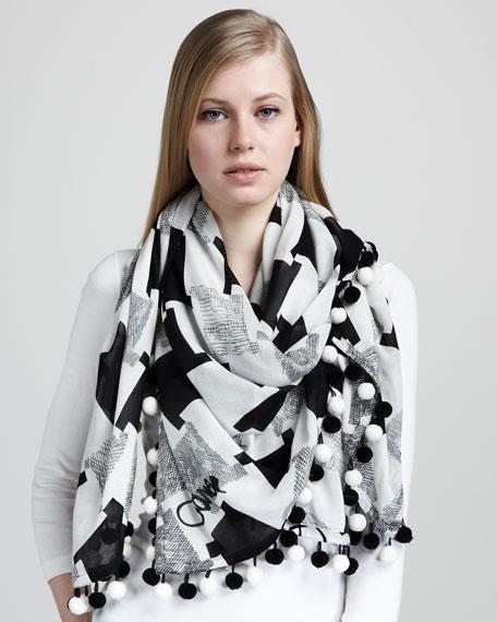 Rochelle Check Pompom Scarf, Black/White