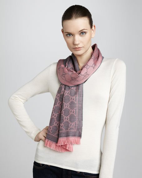 GG Woven Scarf, Pink